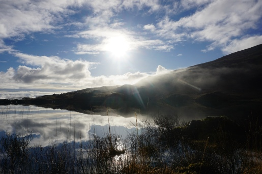Mist on a mountain lake in Donegal, Ireland